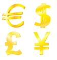 Golden currency symbols vector image