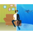 Happy guy is doing scuba diving in virtual reality vector image