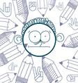 hand drawn cartoon surprised boy Education theme vector image