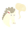 cartoon horse head with speech bubble vector image