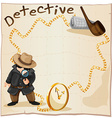 Frame design with detective and smoking pipe vector image vector image