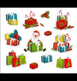 christmas gifts present boxes and santa claus vector image
