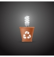 Energy saving lamp in the pot vector image