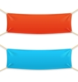 Fabric Rectangular Horizontal Banner with Ropes vector image