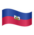 flag of haiti waving on white background vector image