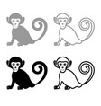 monkey iconset grey black color vector image