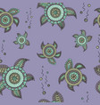 seamless pattern with abstract turtles in doodle vector image