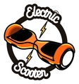 Smart Self Balancing Electric Scooter emblem vector image