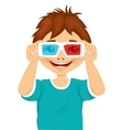 smiling little boy trying on 3d glasses vector image