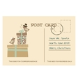Vintage christmas greeting postcard with birds vector image