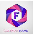 F Letter colorful logo in the hexagonal on grey vector image