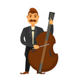 man with moustache playing contrabass isolated on vector image