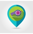 Whistle flat mapping pin icon with long shadow vector image