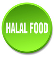 halal food green round flat isolated push button vector image