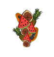 exotic fruits composition vector image