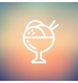 Ice crream on cup thin line icon vector image