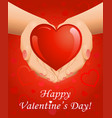 valentines day background with heart in hands vector image