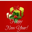 New Year gift box with holly berry vector image