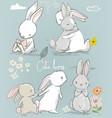 6 cute cartoon hares vector image