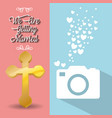 we are greeting married card cross and photo vector image