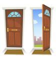 cartoon red door open and closed vector image