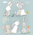 6 cute cartoon hares vector image