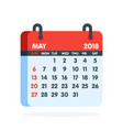 calendar for 2018 year full month of may icon vector image
