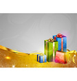 christmas background two color gold gifts vector image