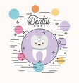 kawaii caricature implant tooth dental care with vector image