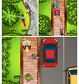 Top view scenes with people in the park and street vector image