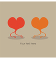 Valentines Day gift card with two hearts vector image