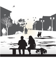 Couple sitting on a bench vector image
