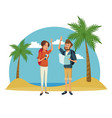 traveler couple beach landscape vacation vector image