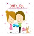 girl and boy cartoon cute happy birthday vector image