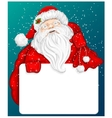 Santa Claus holds banner for text vector image vector image