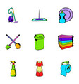 cleanup icons set cartoon style vector image