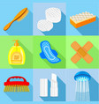 hygiene tools icons set flat style vector image