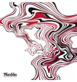 Red black and white colors wavy marble effect vector image
