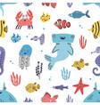 sea life seamless pattern hand drawn algae vector image