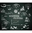 Doodle business diagrams set on blackboard vector image