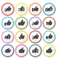Thumbs up set light round buttons vector image