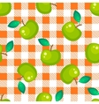 Tartan plaid and green apple seamless pattern vector image