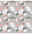 Seamless pattern with animals and flowers vector image