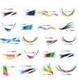Set of blurred wave lines with shiny light effects vector image vector image