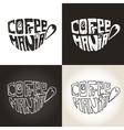 Mug of coffeeLettering CoffeemaniaIcons set vector image
