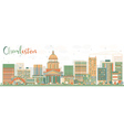 Abstract Charleston Skyline with Color Buildings vector image vector image