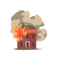 fire in the window of two storey building vector image