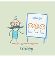 man showing a presentation with smiles vector image