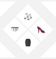 flat icon dress set of foot textile stylish vector image