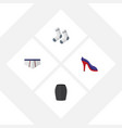 flat icon dress set of foot textile stylish vector image